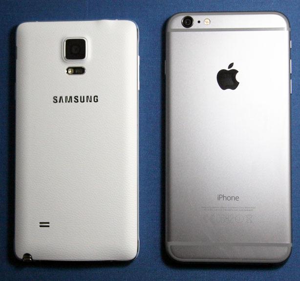 Note 4 til venstre, iPhone 6 PLus til høyre.Foto: Espen Irwing Swang, Amobil.no