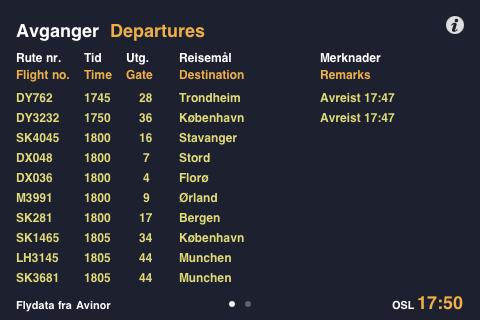 Slik ser skjermen for avgangstider ut.