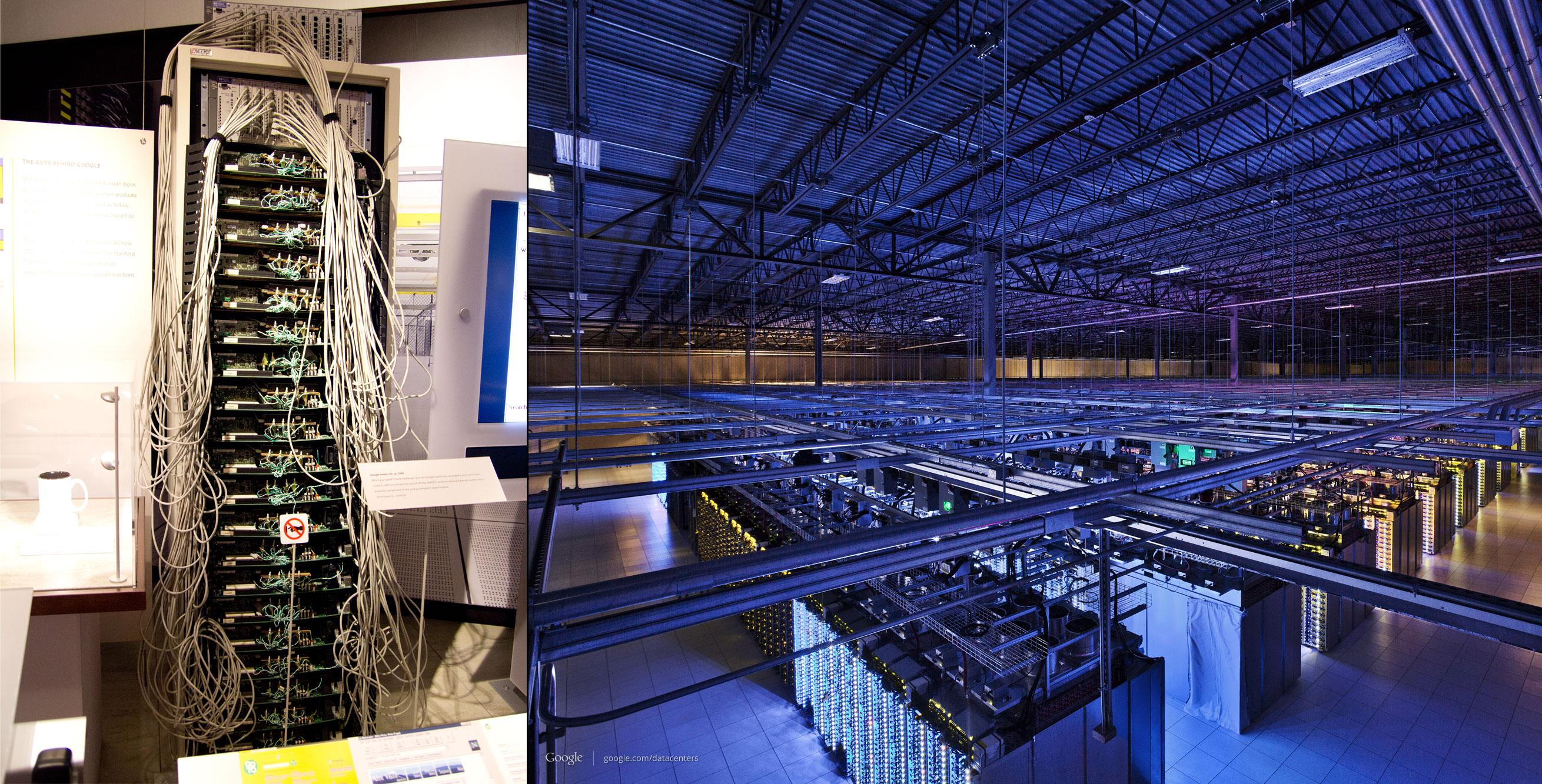 Googles første server til venstre, og en av dagens mange serverparker til høyre.Foto: Jørgen Elton Nilsen/Hardware.no/Google