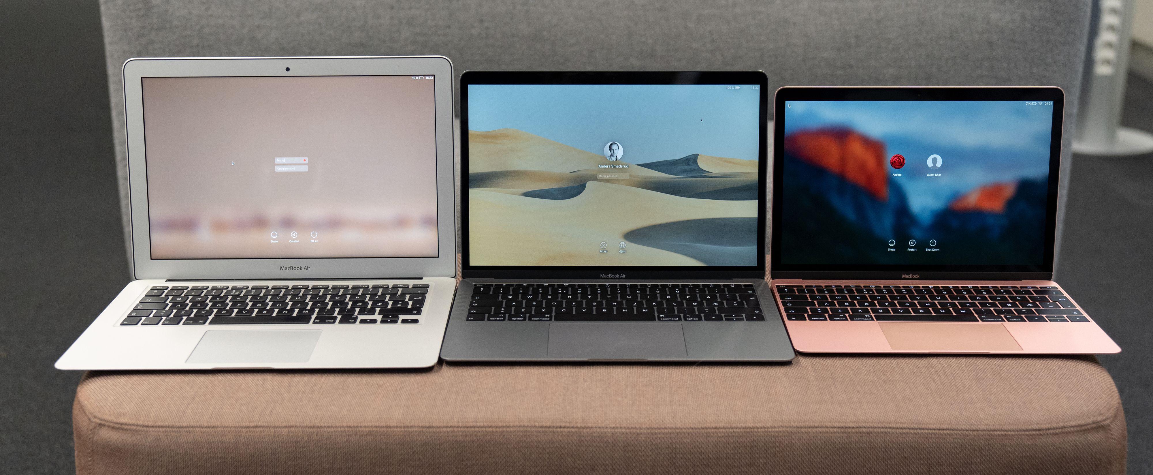 Tripp trapp tresko - fra venstre til høyre: Gamle MacBook Air 13, nye MacBook Air 13 og MacBook 12.