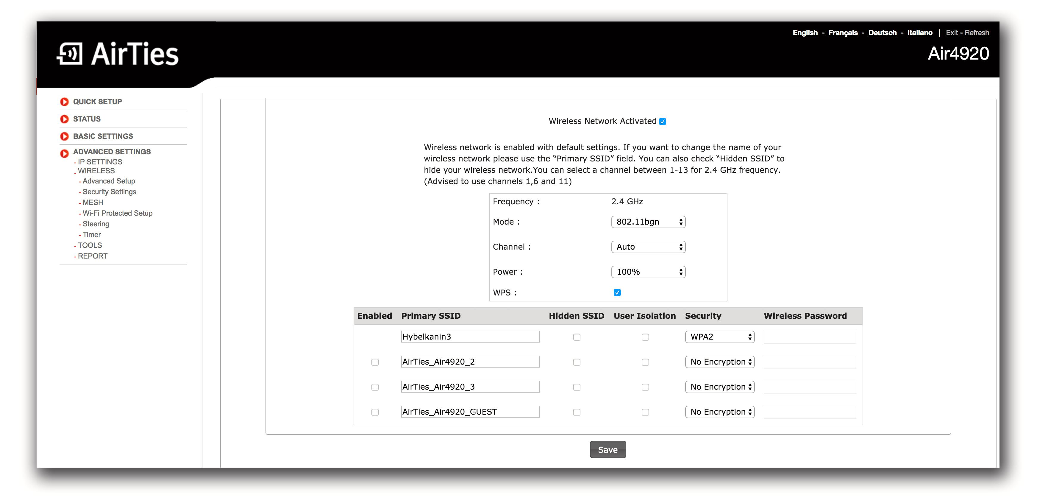 Slik ser Airties-portalen ut. Siden Airties-enhetene ikke har ruterfunksjonalitet, er lista over ting du kan endre på ganske tynn.
