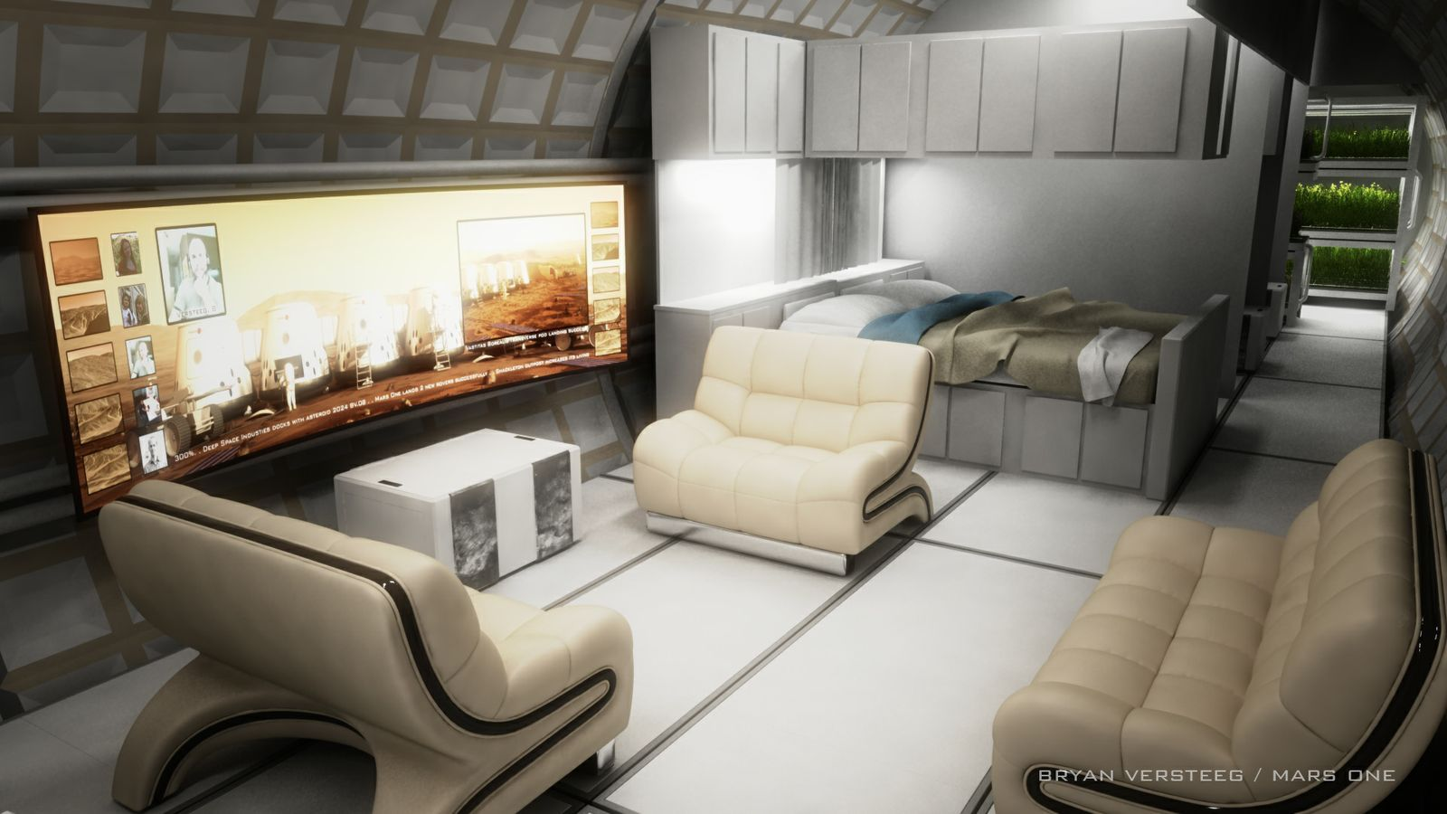 Kombinert stue og soverom.Foto: Mars One