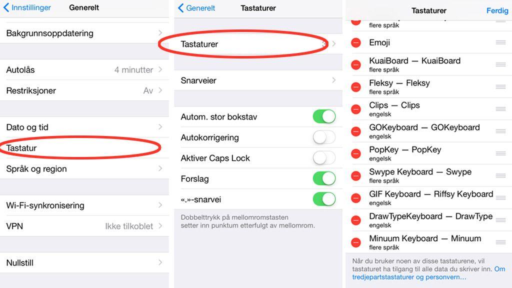 Gå til Innstillinger -> Generelt -> Tastatur -> Tastaturer på din iPhone/iPad for å bytte.Foto: skjermbilder