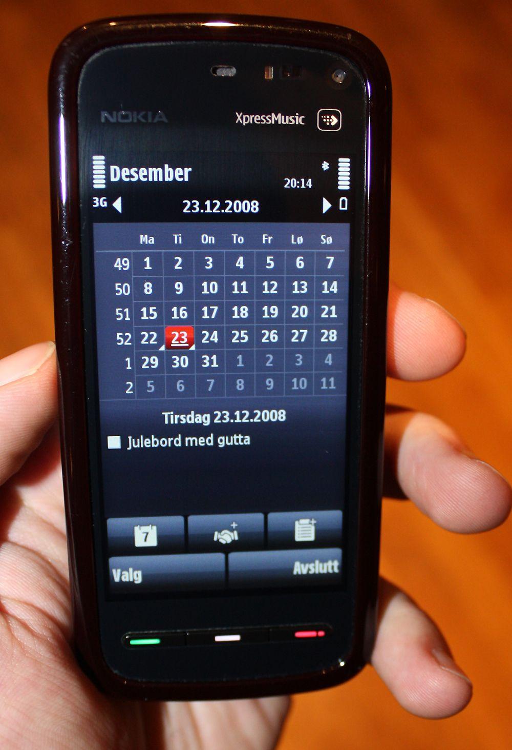 Kalenderen er i prinsippet den samme som på andre telefoner med S60.