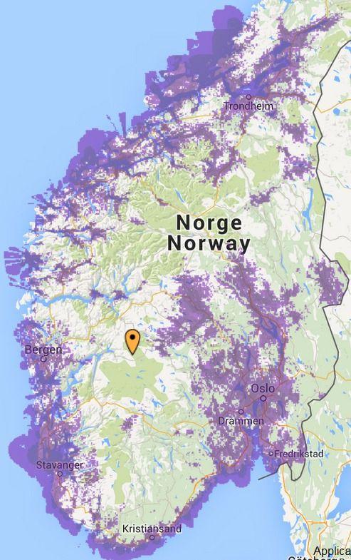 Slik er 4G-dekningskartet i Sør-Norge akkurat nå. I nord har Netcom kun dekning i Troms. Foto: Netcom/Google Maps