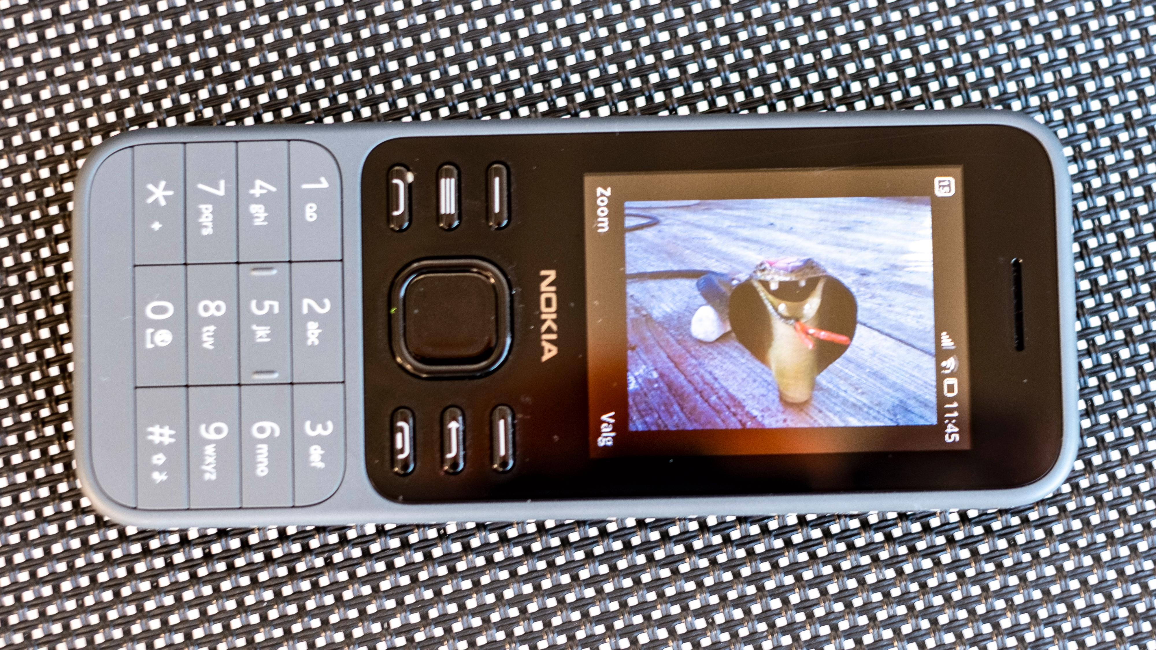 Å få et tydelig fokusert bilde av skjermen på Nokia 6300 er tidvis vanskelig. Den er for lite lyssterk, og har et litt blast plastdekke over seg. Men slik ser den ut fra best mulige vinkel. Telefonen har forøvrig Snake-spill - dette er dog kun et bilde av en skremmeslange mot fugler i hagen.
