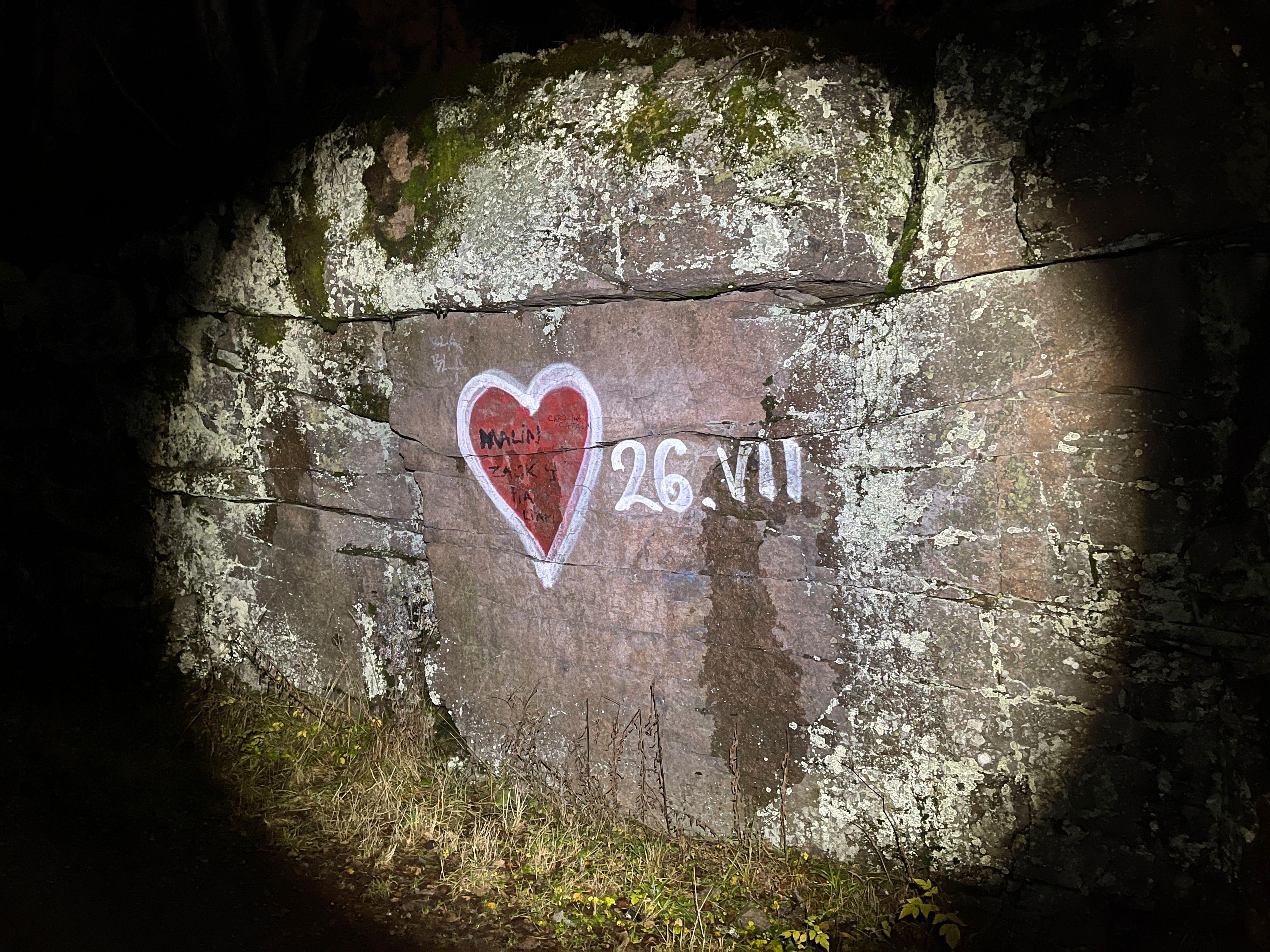 Noens kjærlighetserklæring fotografert i tussmørket og lyset fra en hodelykt.