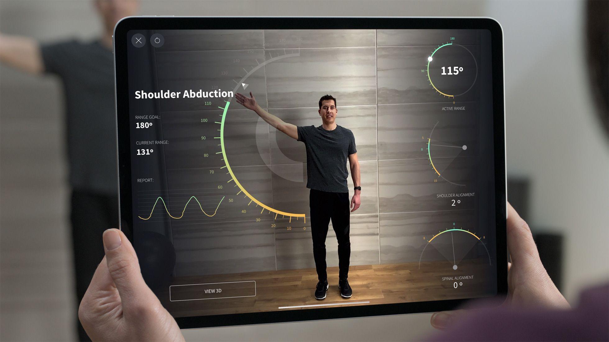 Den nye lidarsensoren skal gi betydelig bedre omgivelsesskanning, og kan blant annet brukes til apper som denne, kalt Complete Anatomy. Apples egen målingsapp blir også oppgradert.