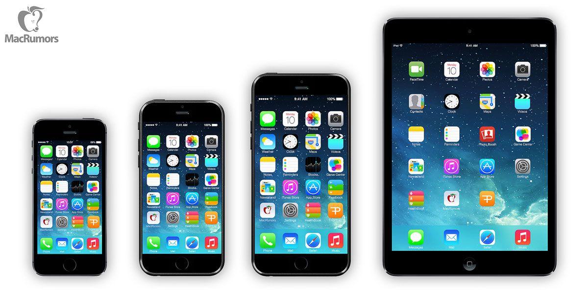 "Fra venstre: iPhone 5s (4""), iPhone 6 (4,7""), iPhone 6 (5,7""), iPad Mini (7,9"").Foto: MacRumours"