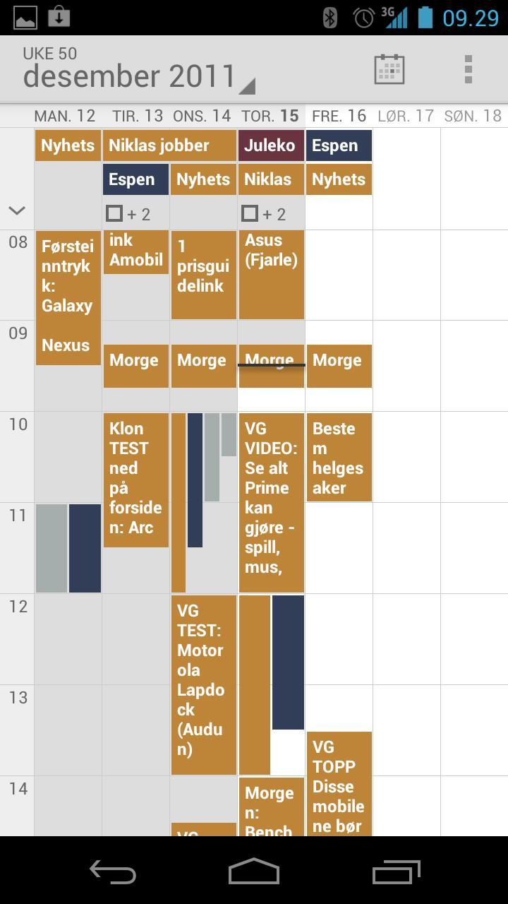 Kalenderoversikten er god.