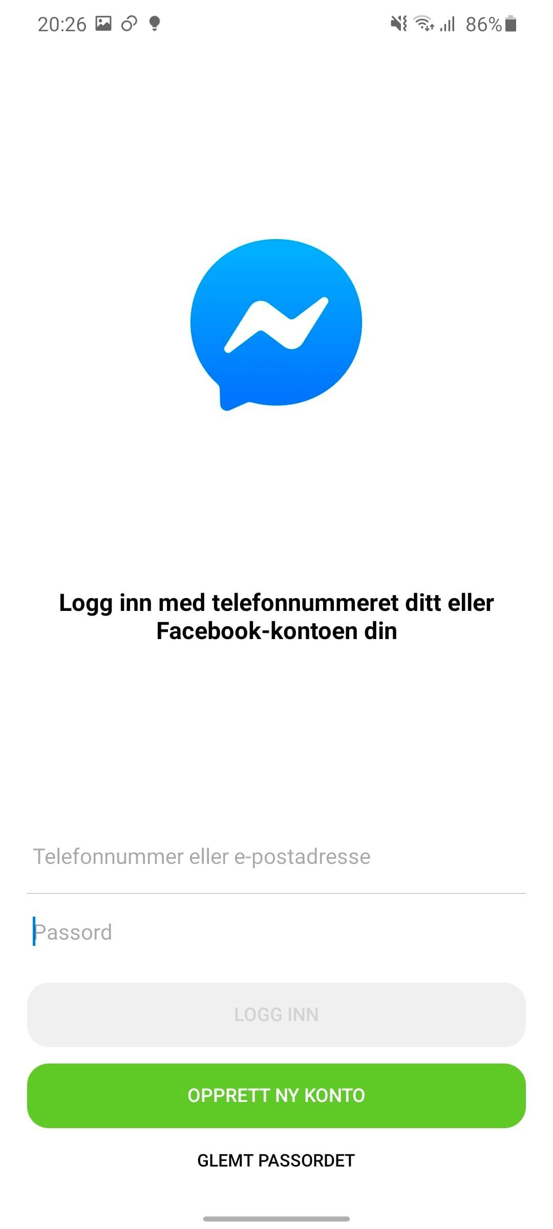 Logg inn i Messenger med Facebook-kontoen din. Hvis du allerede har Facebook-appen innlogget på mobilen din kan du vanligvis gå rett inn uten innlogging. Hvis du ikke har konto tas du gjennom en veiviser for å opprette den.