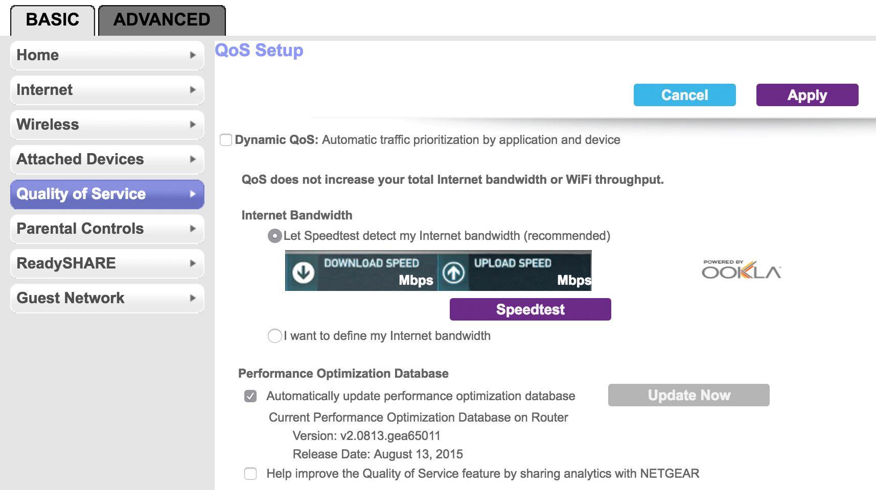 Brukergrensesnittet er forholdsvis enkelt og greit. Her settes QoS opp, slik at trafikken i nettet prioriteres.