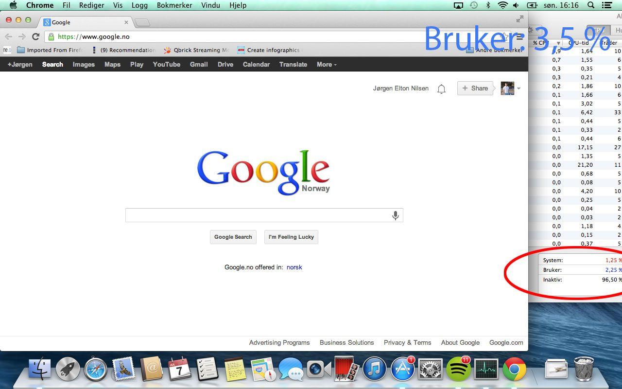 Når Google Chrome dekker over App Store, synker prosessorbruken fra over 10 prosent til 3,5 prosent.Foto: Hardware.no