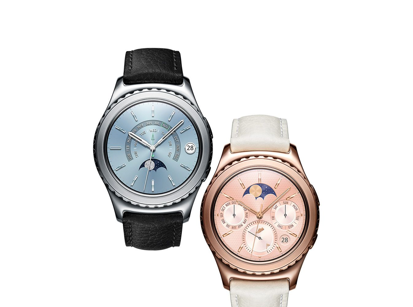 Gear S2 i platina (til venstre) og roségull (til høyre), med dertil tilhørende urskiver og klokkeremmer.