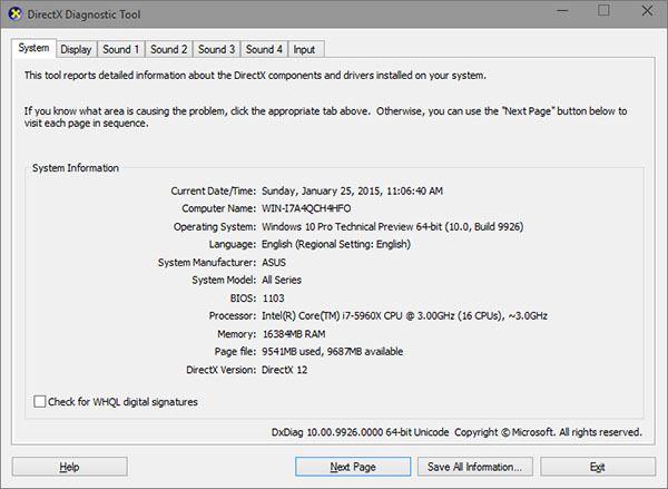 «Dxdiag» viser deg hvilken DirectX-versjon grafikkortet eller APU-en din støtter i Windows 10.