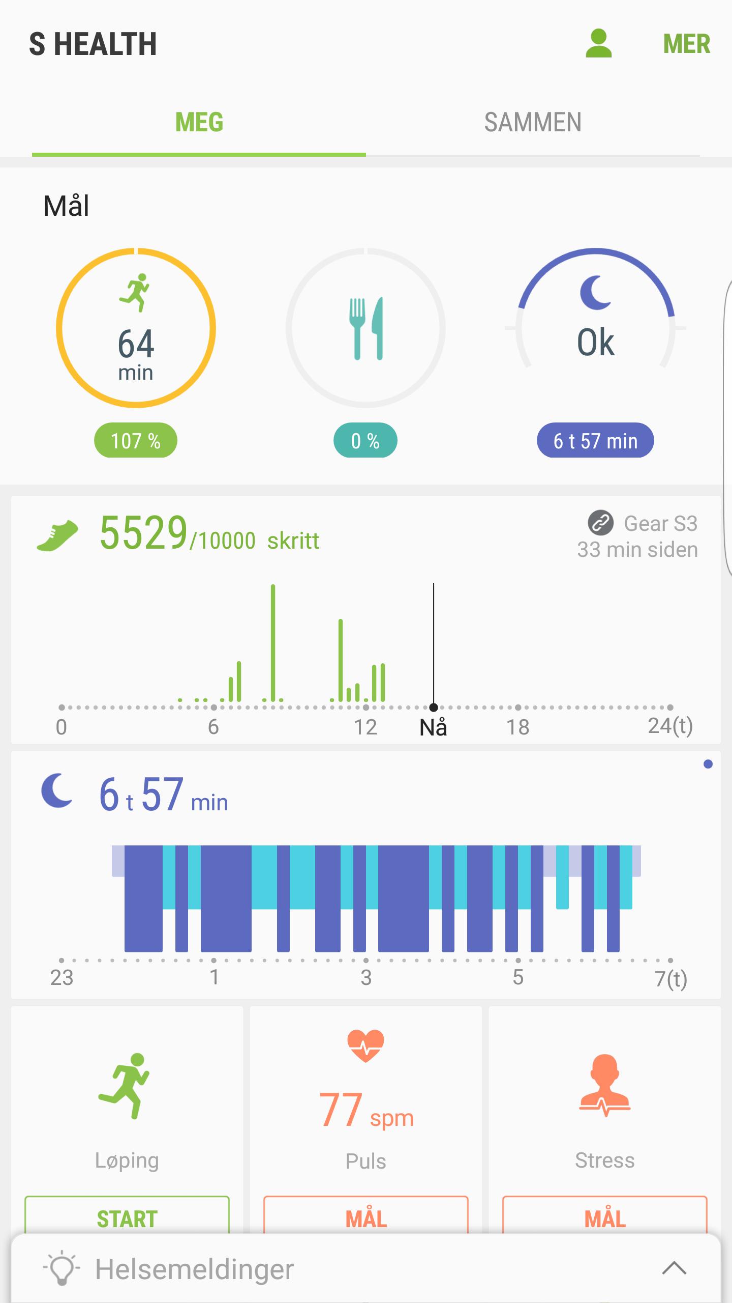Helse-appen gir deg mye informasjon om dine daglige bevegelser.