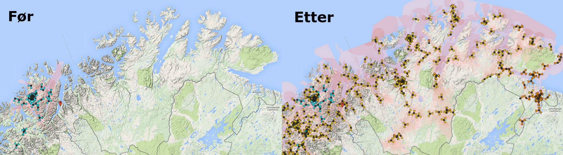 NetComs 4G-dekning i Finnmark før og etter utbyggingen som skal være ferdig i løpet av 2015. Foto: NetCom
