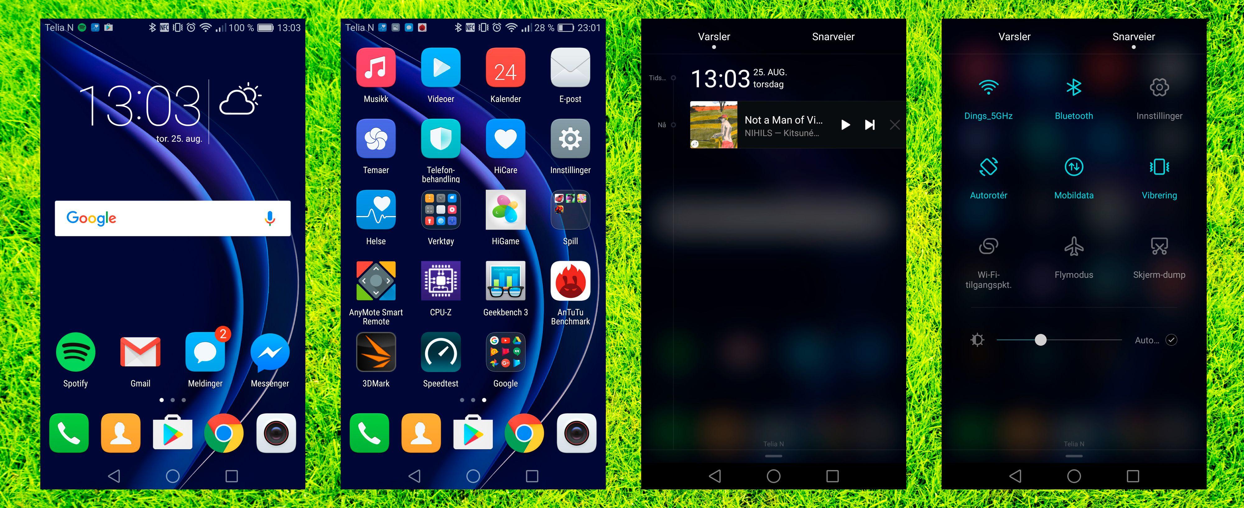 Selv om denne telefonen ikke bærer Huawei-logoen, er det Huawei som lager både den og menyene. Dermed er det EMUI-menyer som gjelder. De er pene og de er fulle av nyttige funksjoner, men noen appmeny får du ikke. Her fordeles appene utover hjemmeskjermene.