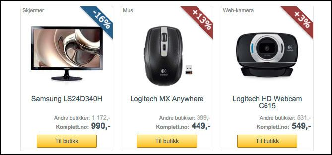"""Selv om noen sier det er """"tilbud"""", finnes det ofte lavere priser andre steder.Foto: Skjermdump fra Prisguide.no"""