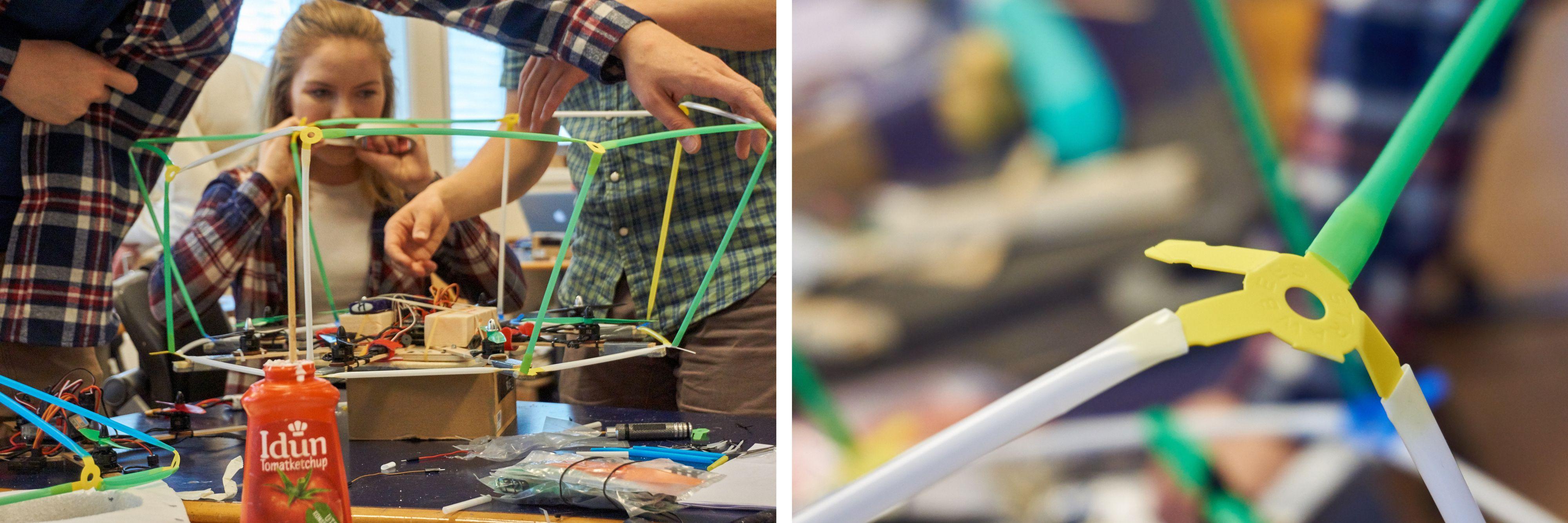 Dette er strawbees – og det er fast inventar i Pedersens dronebygging.