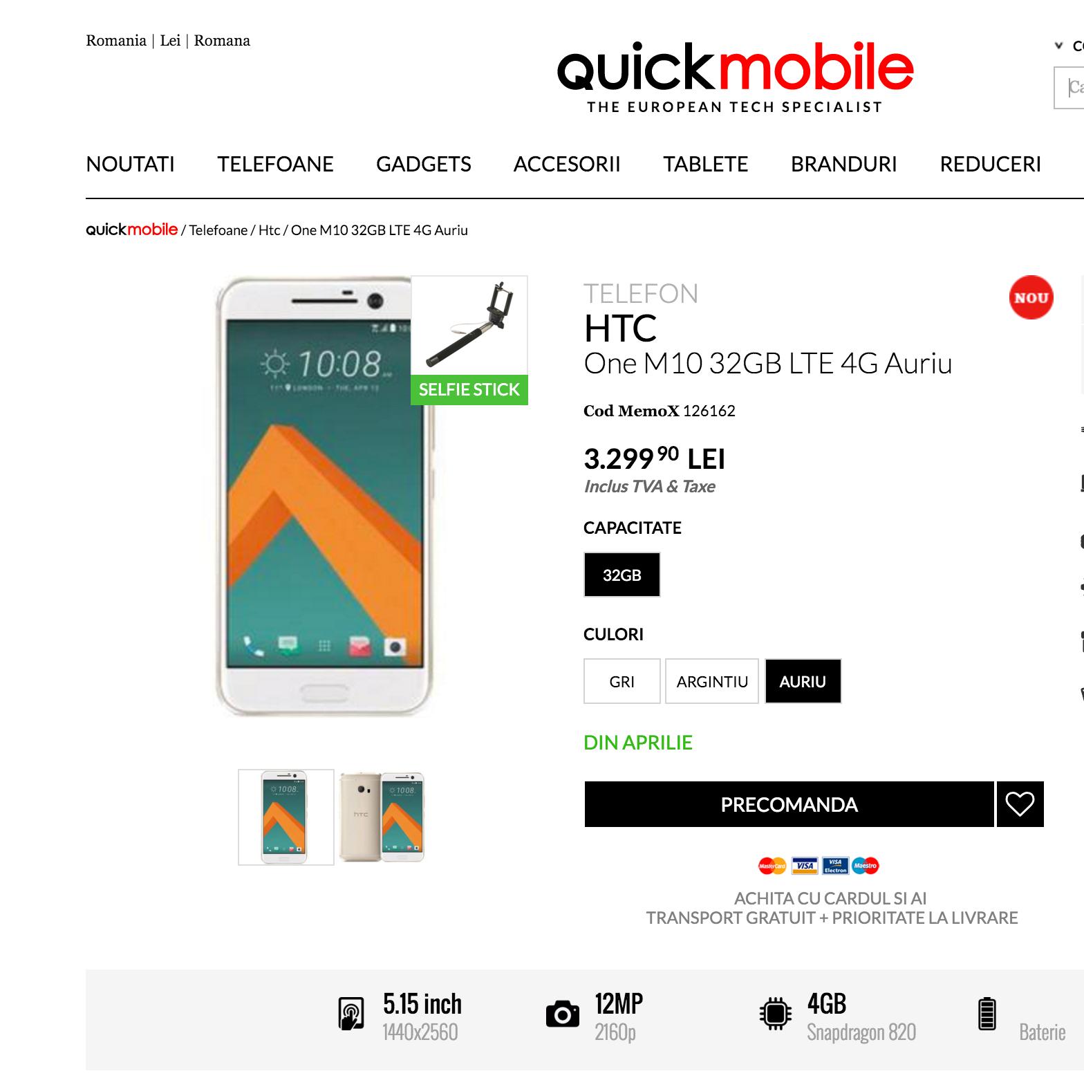 En rumensk side var litt kjapt ute med å legge ut forhåndsbestillinger av telefonen, under navnet «HTC One M10».