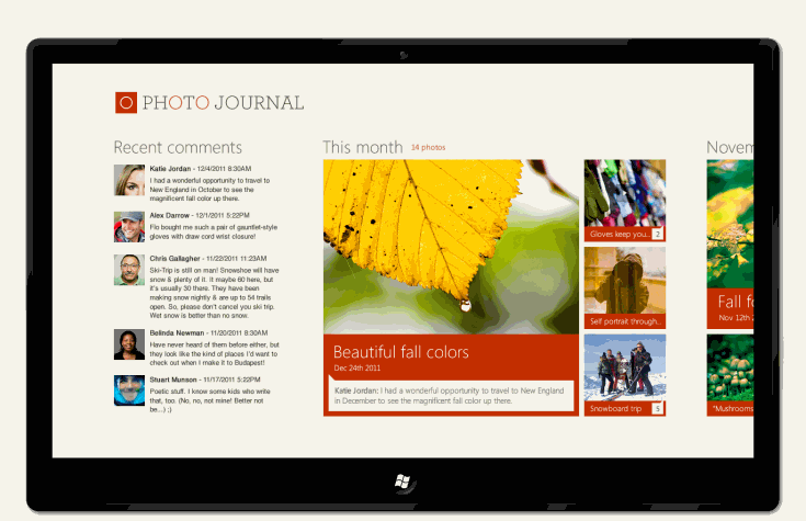 Slik ser Microsoft for seg at en foto-app vil kunne se ut på et Windows 8-nettbrett.