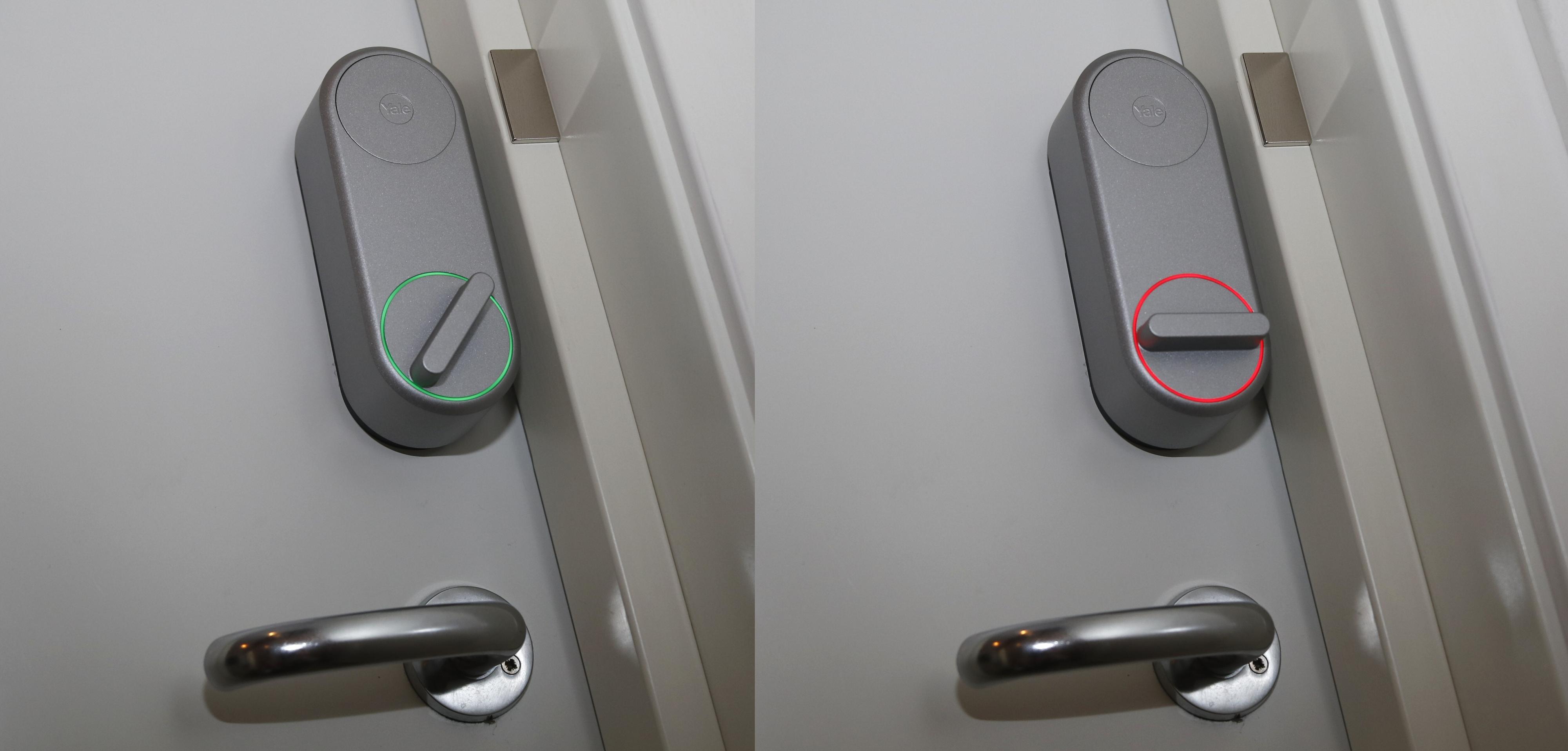 I tillegg til plingelyder når den låser eller låser opp – som kan slås av – bruker Linus farger for å bekrefte knappvriderens posisjon. Men dette lyser kun opp i kort tid for å spare batterier. Merk for øvrig den lille metallplaten på dørkarmen, det er «dørsensor»-magneten.