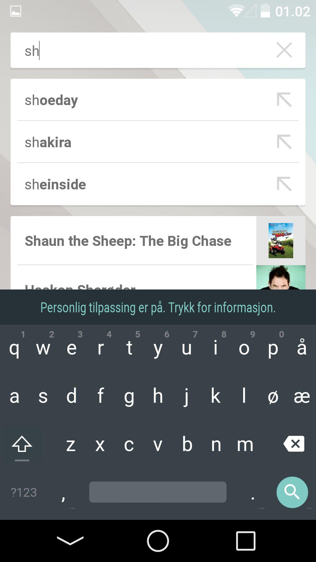 Søkefunksjonen lar deg nå søke i innhold du har sett på inni apper. Merk at også tastaturet er redesignet.