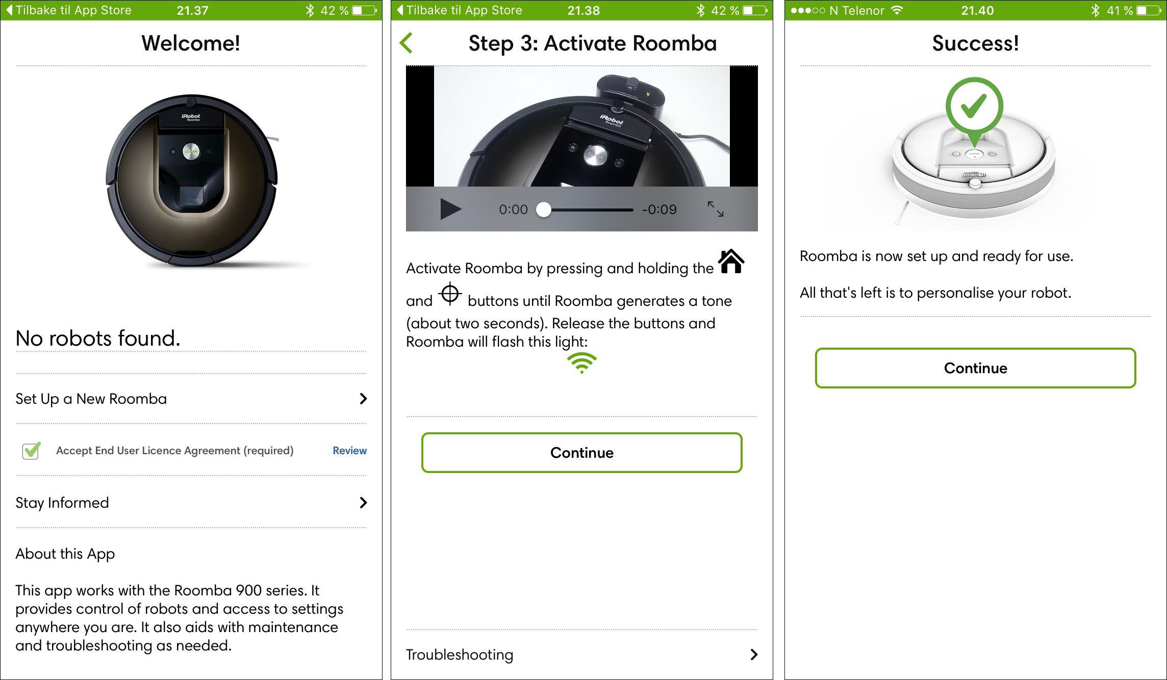 Oppsettet av Roomba 980 er veldig enkelt, takket være en god veiviser i appen.