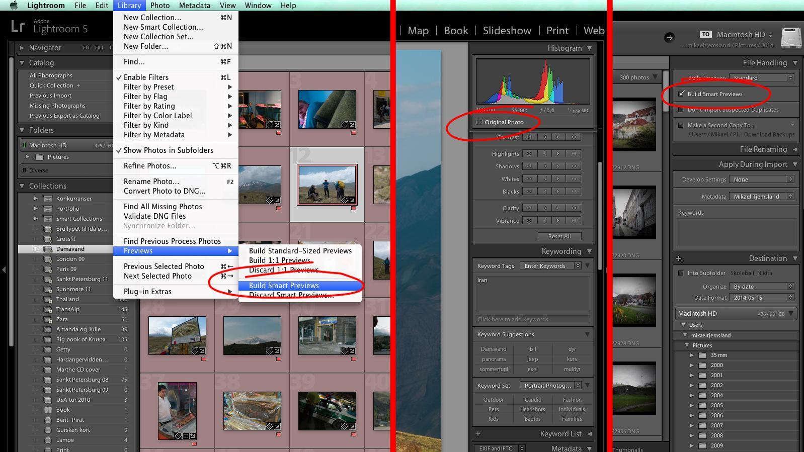 3 veier til Smart Previews. Via menyen under Library, ved å klikke på ikonet under histogrammet, eller ved import.