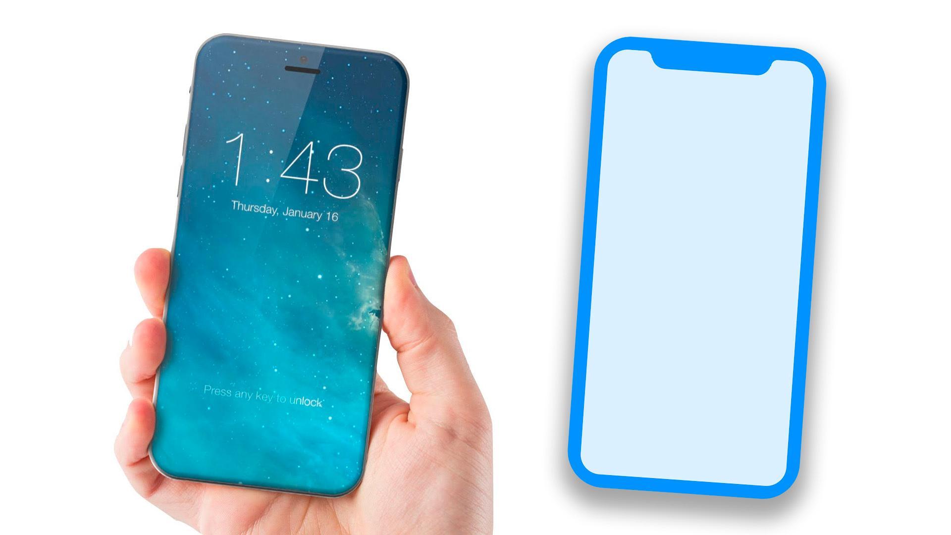Til venstre en tegning av hvordan en ny iPhone kan se ut, gjort av ConseptsiPhone, til høyre et nytt iPhone-ikon hentet ut av HomePod-koden.