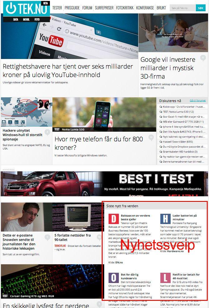 Slik ser nyhetssveipet ut på Tek.no. Du finner det litt ned på siden – alltid oppdatert.