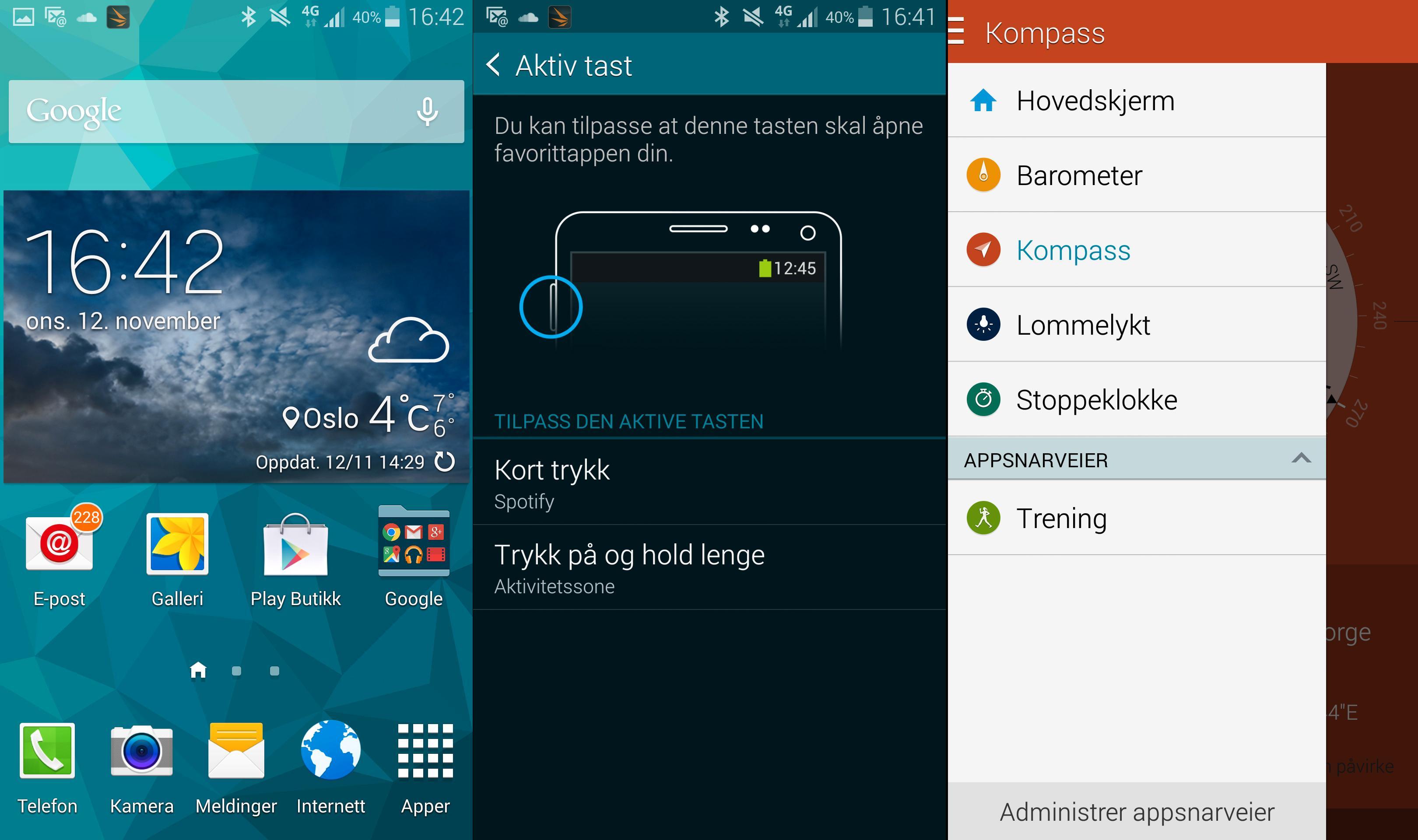 Samsung-menyene har med tiden blitt en blanding av Touch Wiz slik vi kjenner det, og Googles nye Android-design.Foto: Finn Jarle Kvalheim, Tek.no