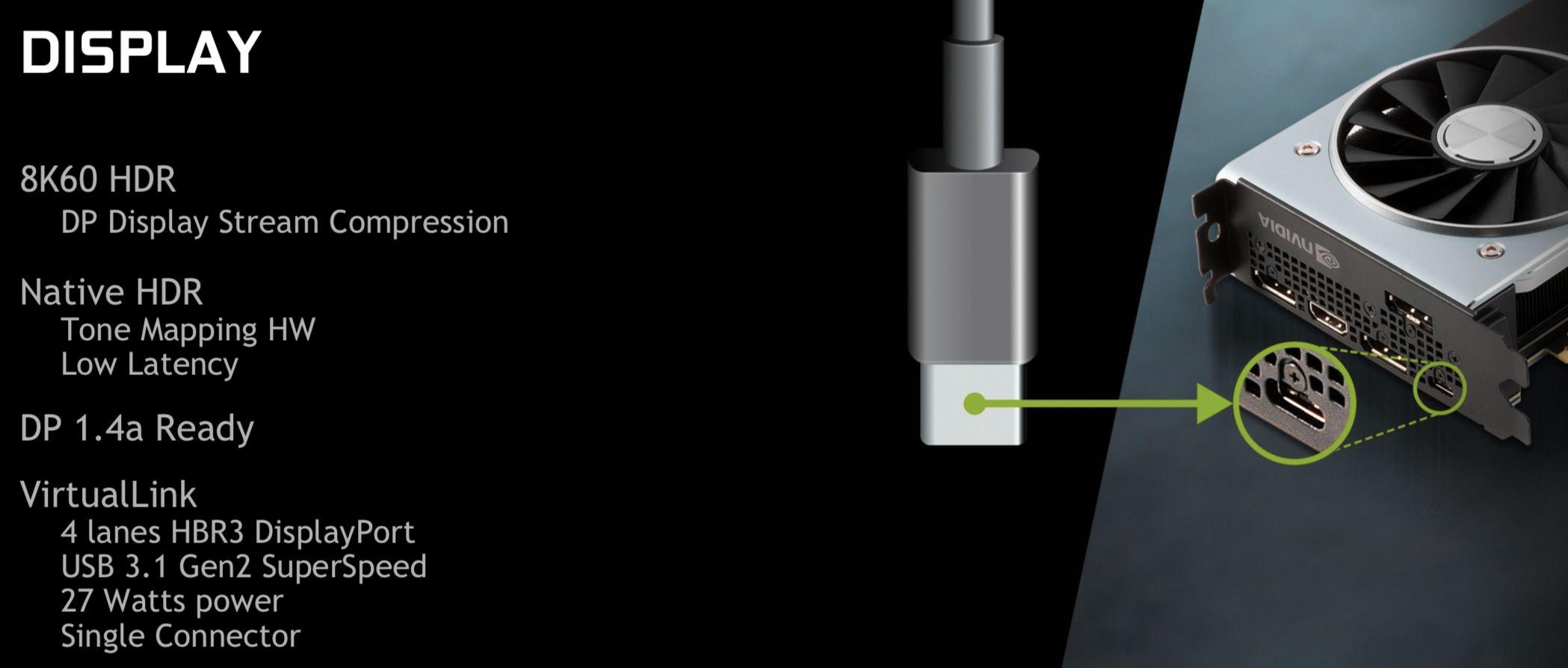 RTX-kortene kommer med nye utganger, blant annet USB-C-baserte VirtualLink for enklere tilkobling av dagens og morgendagens VR-hodesett.