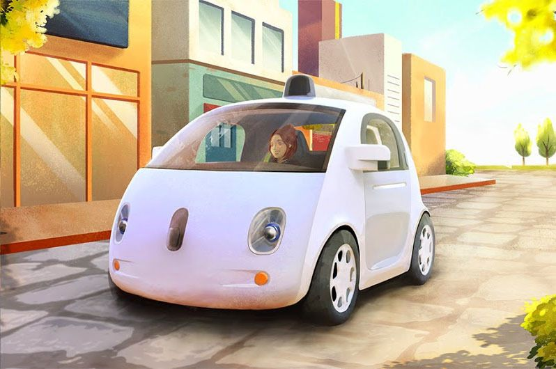 Googles selvkjørende bil er fortsatt noen år fra offisiell lansering. Her fra en konseptskisse.Foto: Google