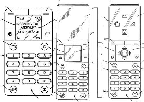 Denne telefon har et nedskyvbart tastatur og en stor trykkskjerm.