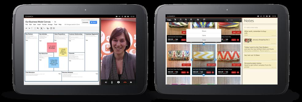 En mobilapp og en nettbrettapp kan vises ved siden av hverandre.Foto: Canonical
