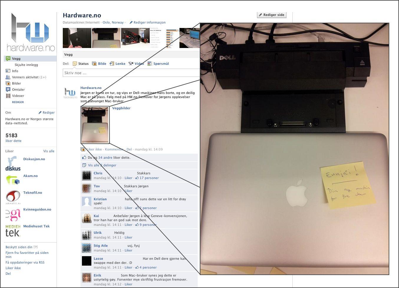 Faksimile, Hardware.nos Facebook-gruppe