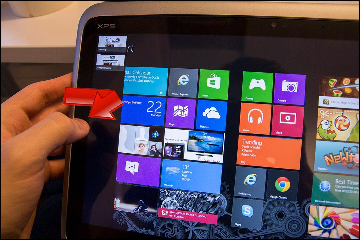 Drar du fingeren tilbake mot kanten, vil du få opp en oversiktlig liste over dine sist brukte programmer.Foto: Hardware.no