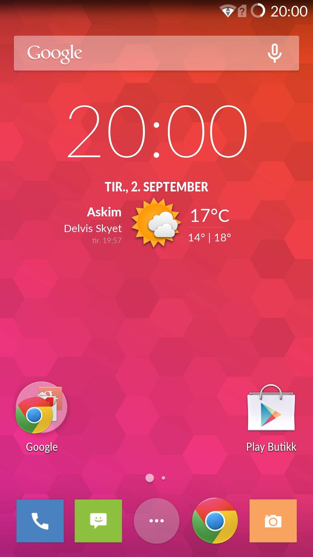 Slik ser hjemskjermen ut på OnePlus One ut av esken.