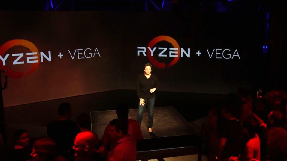 Et Vega-basert grafikkort ble demonstrert for første gang under AMDs Ryzen-annonsering i desember.