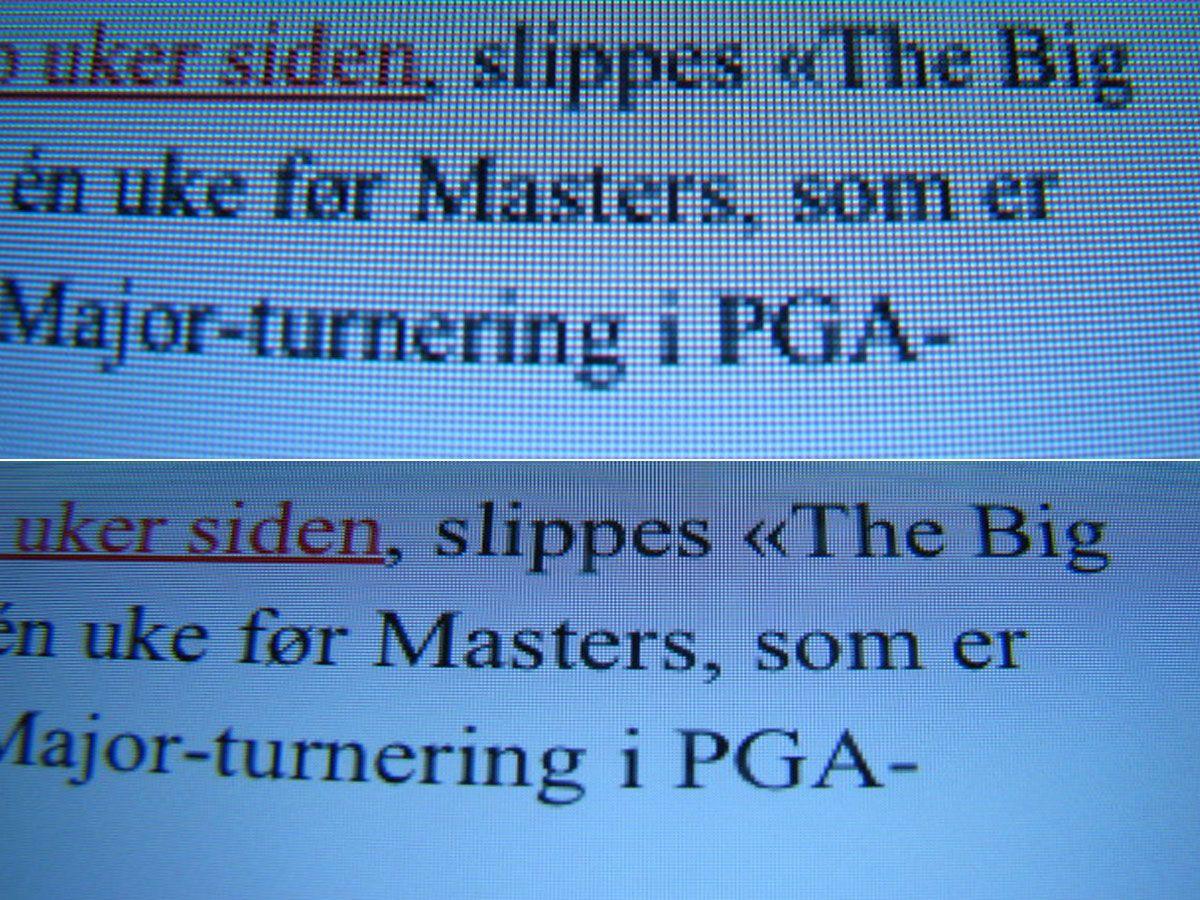 Øverst er et bilde av teksten avbildet med nærlinse på iPad 2. Nederst er samme bilde av skjermen på den nye iPad-en.