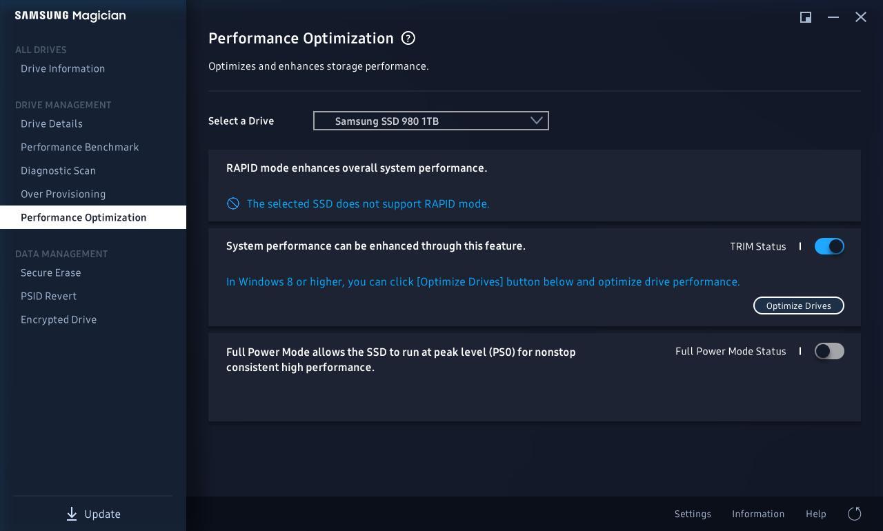 «Full Power Mode» gir litt ekstra ytelse og er tilgjengelig på både SSD 980 og 980 Pro.