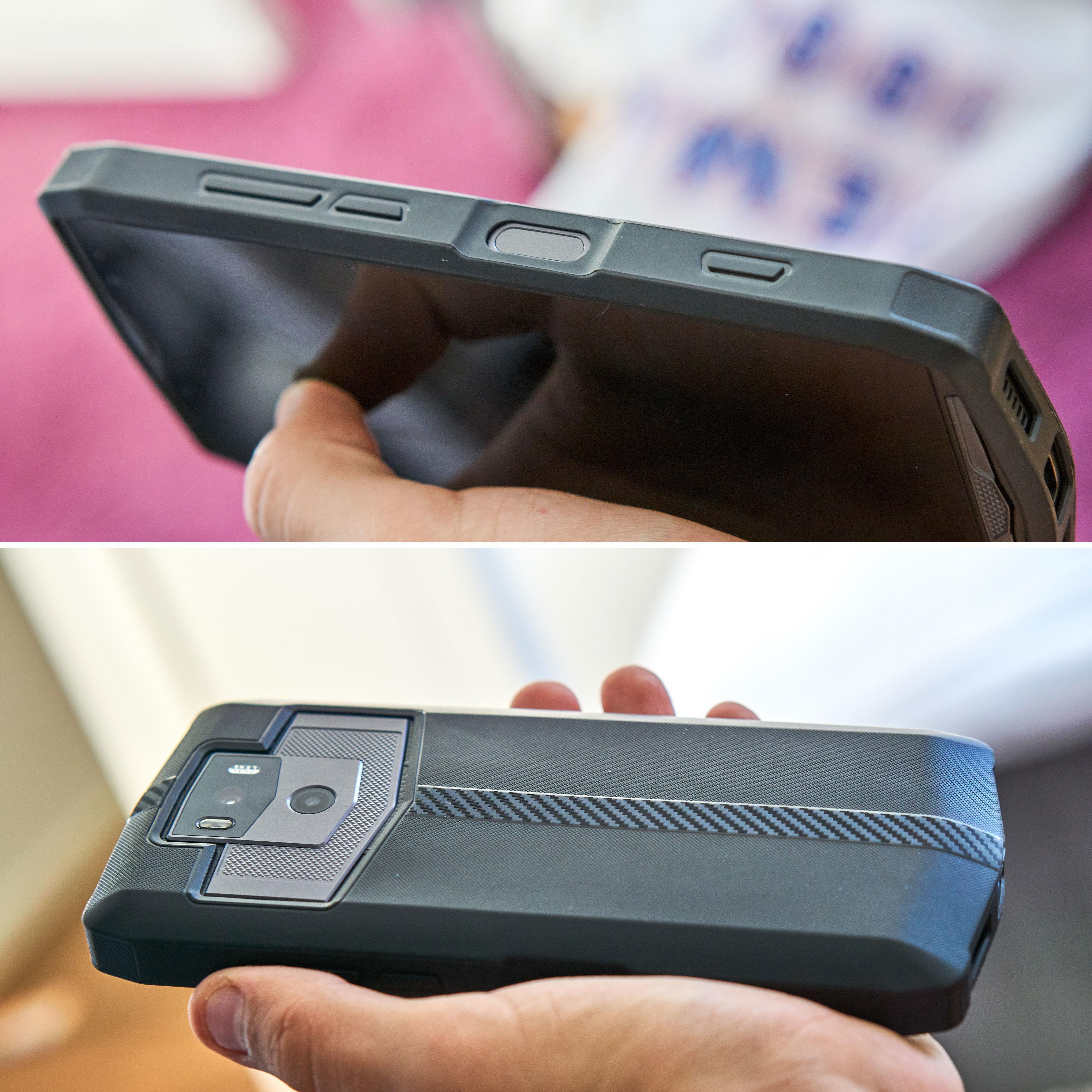 Det medfølgende gummidekselet gjør den massive telefonen enda mer massiv.