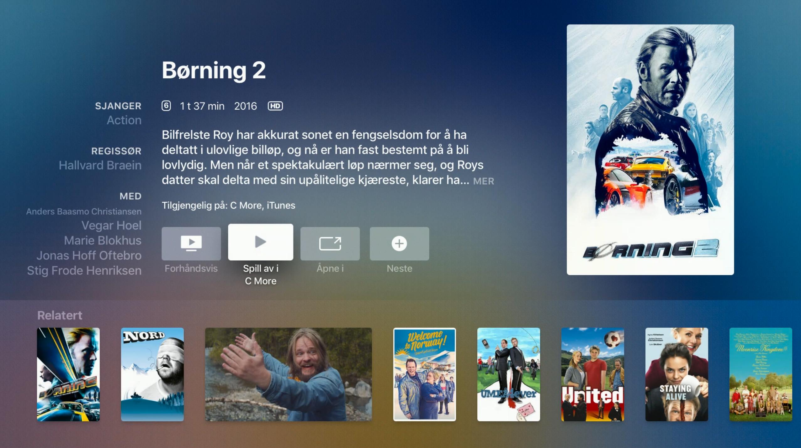 Når du finner innhold du vil se kan sender Apple TV-appen deg videre til appen du kan bruke og starter innholdet for deg.