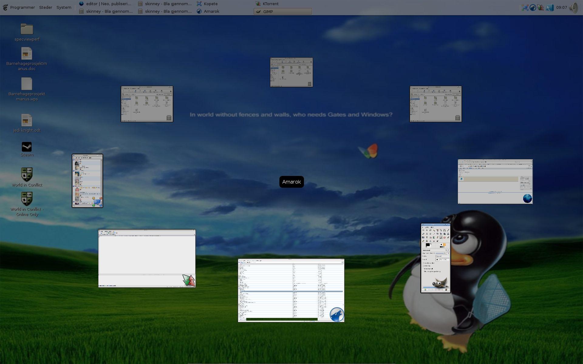 Alternativ alt+tab-funksjon i Compiz Fusion Klikk for større bilde