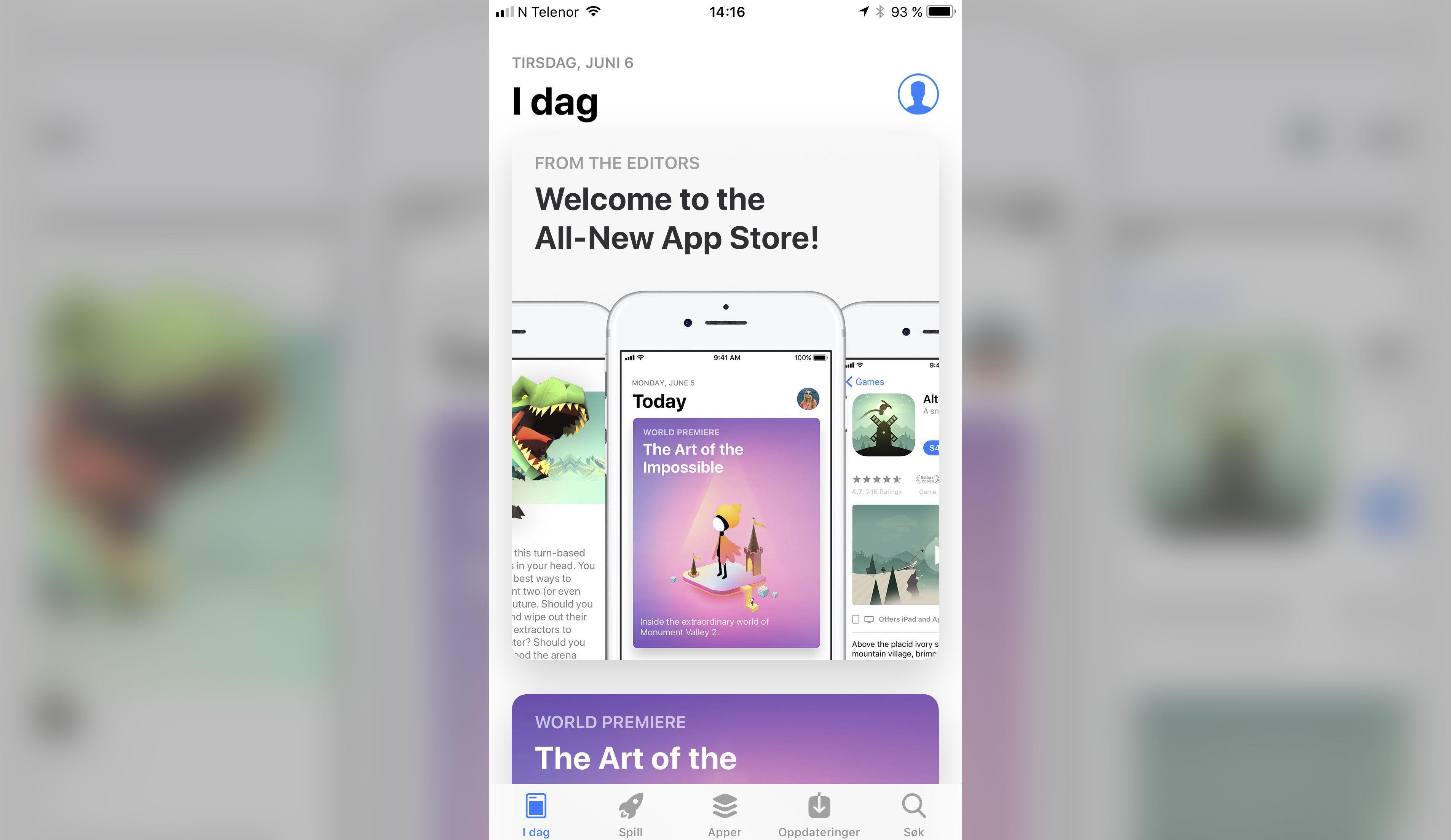 Slik ser nye App Store ut.
