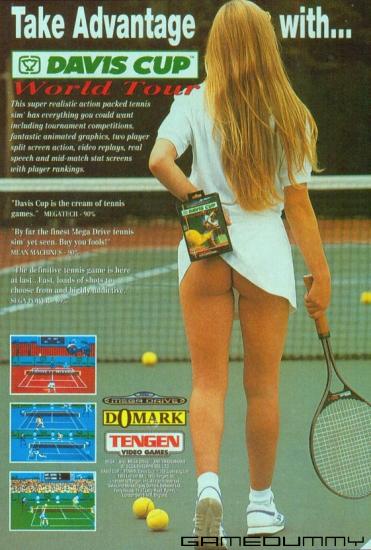 Dette er en reklame for et tennisspill. Så selvsagt må det ha ei jente som viser rumpa. Foto: Domark