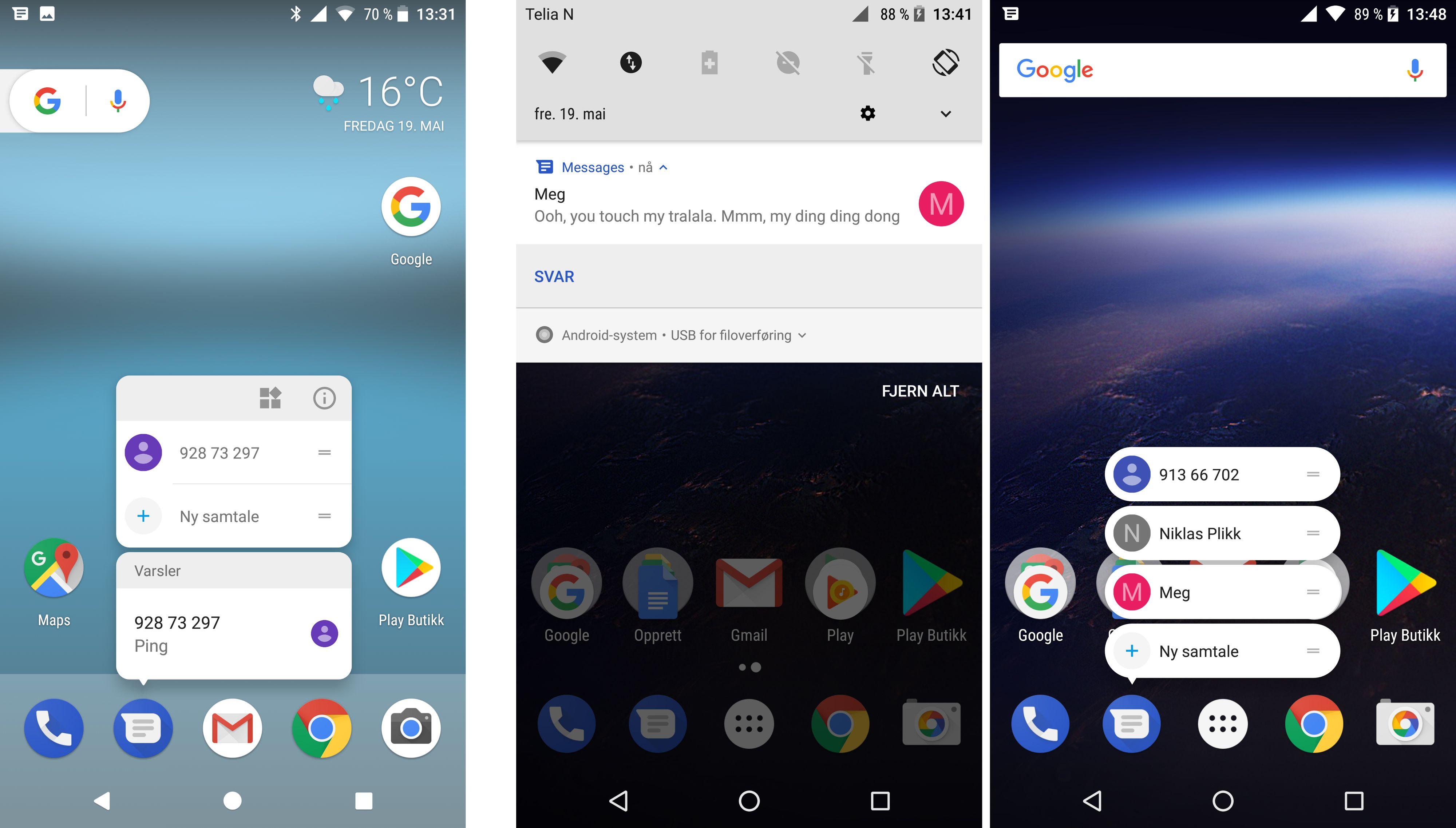 Til venstre en Google Pixel XL med Android O og til høyre en Nexus 6P med samme Android-versjon. Det er altså ulikheter i hvordan versjonene for telefonene oppfører seg. Her må man ha en Pixel for å få forhåndsvisninger om man holder fingeren på appikonet. Bilde: Finn Jarle Kvalheim, Tek.no