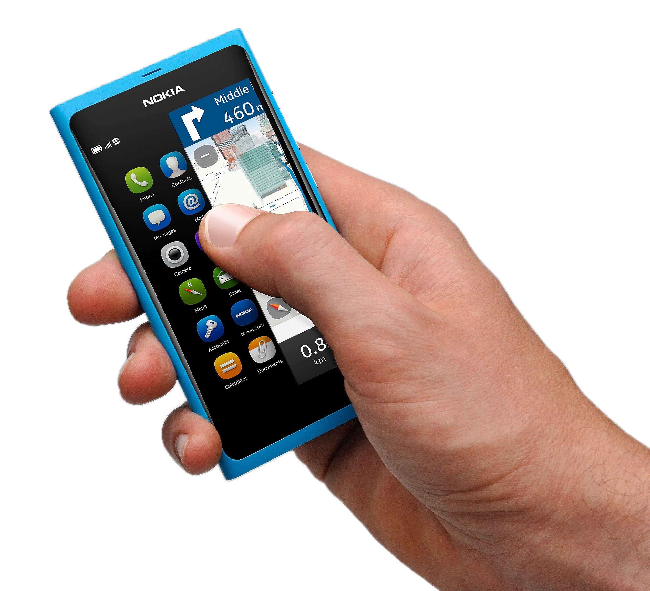 Nokia N9 har mange likheter med dagens Windows-baserte Lumia-mobiler.Foto: Nokia
